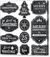 Christmas Chalkboard Labels Acrylic Print
