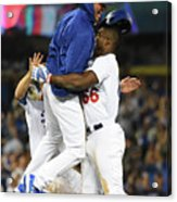 Clayton Kershaw and Yasiel Puig Acrylic Print