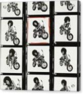 Contact Sheet of Marsha Hunt with a Motorbike Acrylic Print