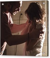 Couple having fight in kitchen, man holding shoulders of woman Acrylic Print