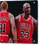 Dennis Rodman and Michael Jordan Acrylic Print