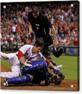 Dioner Navarro and Chase Utley Acrylic Print