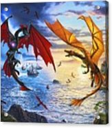 Duel of the Dragon Wizards Acrylic Print