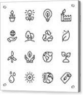 Ecology and Environment Line Icons. Editable Stroke. Pixel Perfect. For Mobile and Web. Contains such icons as Leaf, Ecology, Environment, Lightbulb, Forest, Green Energy, Agriculture. Acrylic Print