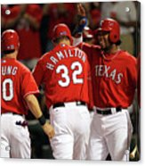 Elvis Andrus, Michael Young, And Josh Hamilton Acrylic Print