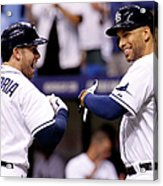 Evan Longoria and James Loney Acrylic Print
