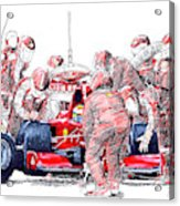 Ferrari a boxes, pits, Original handmade drawing Acrylic Print