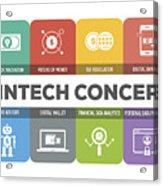 Fintech Concept Colorful Icons Set Acrylic Print