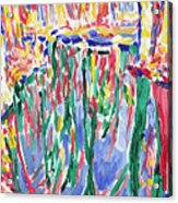 Forest river reflection oil painting on canvas, colorful psychedelic trees water landscape Acrylic Print
