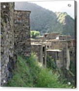 Fortified houses on the cliffs, Shatili, Caucasus Mountains, Georgia Acrylic Print