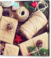 Gift Box On A Wooden Background Acrylic Print