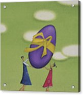 Girls Holding a Large Easter Egg Acrylic Print