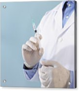 Hands of doctor with syringe Acrylic Print