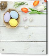 High Angle View Of Easter Eggs In Bowl On Table Acrylic Print