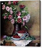 Hollyhocks  flowers in vase Acrylic Print