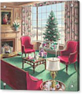 Illustration Of A Christmas Living Room Scene Acrylic Print
