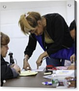 Immigrants Attend Citizenship Application Assistance Event In The Bronx Acrylic Print