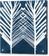 Indigo and White Leaves- Abstract Art Acrylic Print