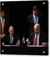 Israeli Prime Minister Netanyahu Meets With California Gov. Jerry Brown In San Francisco Acrylic Print
