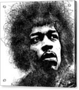 Jimi Hendrix scribbles portrait Acrylic Print