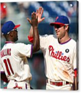 Jimmy Rollins and Chase Utley Acrylic Print