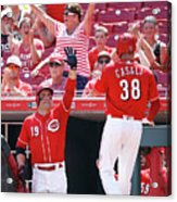 Joey Votto and Wade Davis Acrylic Print
