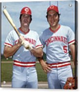 Johnny Bench and Pete Rose Acrylic Print
