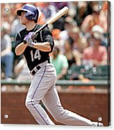 Justin Morneau and Josh Rutledge Acrylic Print