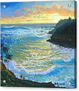 Ka Puka Alua Sunrise At Piahi  AKA Jawz  Painted At Actual Location On Maui Acrylic Print