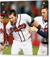 Kris Medlen, Freddie Freeman, and Chris Johnson Acrylic Print