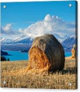 Lake Tekapo with hay bales and mountain background Acrylic Print