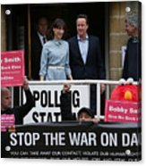 Leader Of The Conservative Party, David Cameron, Casts His Vote As The UK Goes To The Polls Acrylic Print
