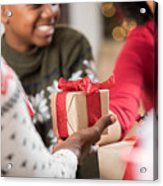 Man Gives Adult Daughter A Gift At Christmas Acrylic Print