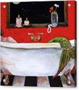 Mermaid in Bathtub Taking a Moonlight Soak by Linda Queally Acrylic Print