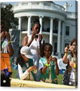 Michelle Obama Hosts Girls Scouts At First-Ever White House Campout Acrylic Print