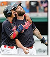 Mike Napoli, Lonnie Chisenhall, and Francisco Lindor Acrylic Print