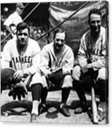 Miller Huggins, Lou Gehrig, and Babe Ruth Acrylic Print