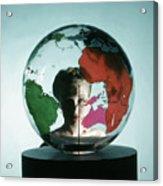 Model Behing Transparent Globe Acrylic Print
