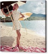 Model Standing Under a Beach Umbrella Acrylic Print