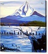 Mount Hood Over Wintler Beach  Acrylic Print