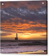 North Sea Lighthouse At Dawn Acrylic Print