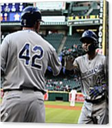 Omar Infante and Billy Butler Acrylic Print