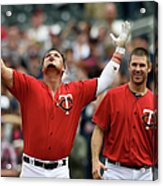 Oswaldo Arcia And Joe Mauer Acrylic Print