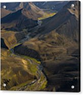 Over Iceland Highlands Hills Of Rhyolite Acrylic Print