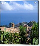 Overview of taormina and the mediterranian from Castella Di Mola in Castelmola, Taormina,Sicily Acrylic Print