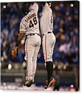 Pablo Sandoval and Brandon Belt Acrylic Print
