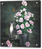 Playing Among The Roses Acrylic Print