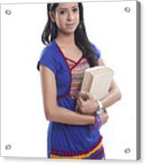 Portrait of college girl with book Acrylic Print