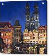 Prague Old Town Square Night Light Acrylic Print
