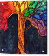 Rainbow Tree with Night Sky Acrylic Print